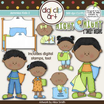 Jammies Kids 2-  Digi Clip Art/Digital Stamps - CU Clip Art