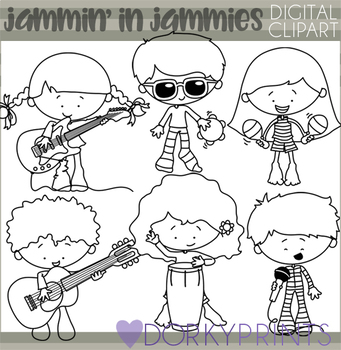 Jammin' in Jammies Blackline Clipart