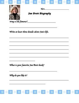 Jan Brett Author Biography Sheet