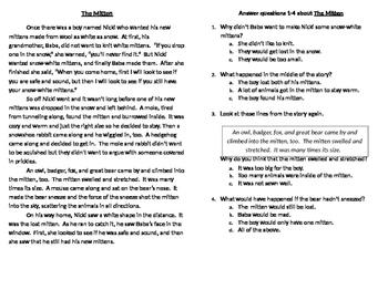 Jan Brett Comprehension Quiz (with Passages)