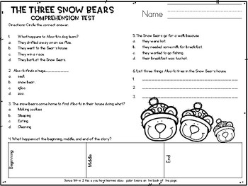 Jan Brett Comprehension Tests (Now with 3 Tests)