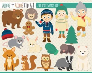 Jan Brett Inspired Winter Clip Art - color and outlines