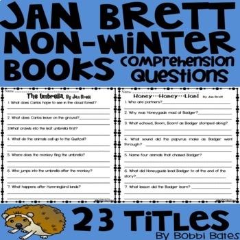 Jan Brett Non-Winter Books Comprehension Questions