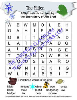 Jan Brett's The Mitten Word Search Printable Worksheet