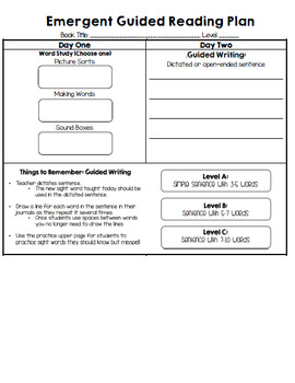 Jan Richardson Emergent Guided Reading Plan