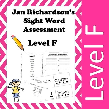 Jan Richardson Sight Word Assessment and Resources (Level F)