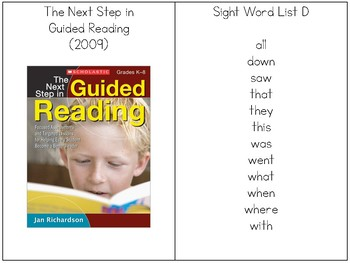 Jan Richardson's List D Sight Word Rings with Sentences