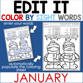 Janaury Edit It Color By Sight Word - Editable Printables