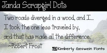 Janda Scrapgirl Dots Font: Personal Use