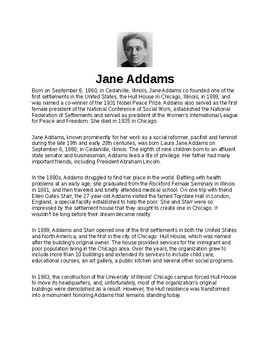Jane Adams Article and Assignment