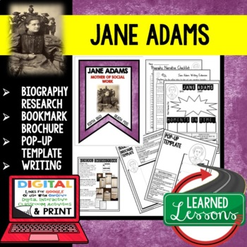 Jane Adams Biography Research, Bookmark Brochure, Pop-Up, Writing