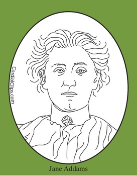 Jane Addams Clip Art, Coloring Page or Mini Poster