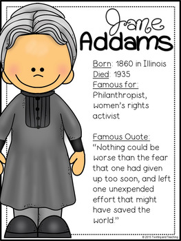 Jane Addams Biography Pack (Women's History)