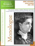 Women History- Jane Addams, Social Worker (1860 - 1935)
