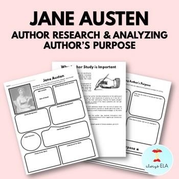 Jane Austen - Author Study Worksheet, Author's Purpose, Author Research, Bio