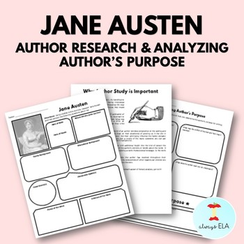 Jane Austen - Author Study Worksheet, Author's Purpose, Author Research
