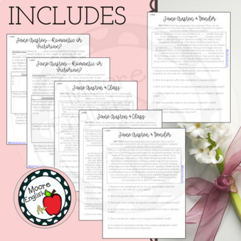 Jane Austen Background Notes and Worksheets