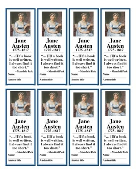 Jane Austen Bookmarks (FREE!)