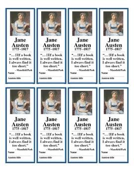 Jane Austen Bookmarks (FREE!)