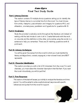 Jane Eyre Final Test Study Guide