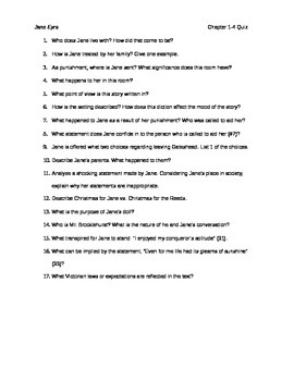 Jane Eyre Quiz Chapters 1-4