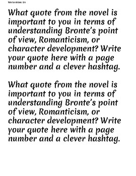 Jane Eyre Table Twitter Chat Questions