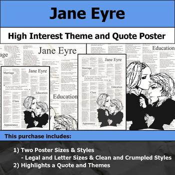 Jane Eyre - Visual Theme and Quote Poster for Bulletin Boards