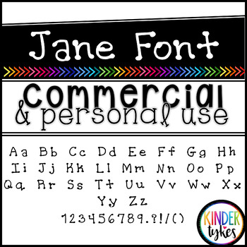 Jane Font by Kinder Tykes for Personal & Commercial Use