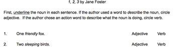 Jane Foster's 1 2 3 - Part of Speech Activity