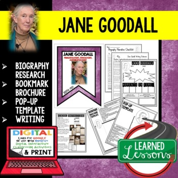 Jane Goodall Biography Research, Bookmark, Pop-Up, Writing