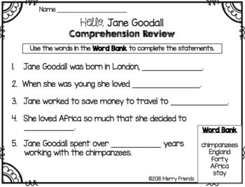 Jane Goodall Booklet for Young Readers - Emergent Reader Womens History