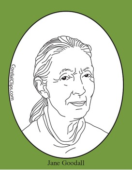 Jane Goodall Clip Art, Coloring Page or Mini Poster