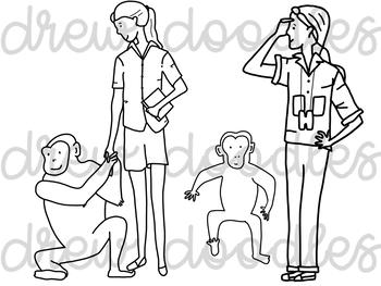 Jane Goodall Digital Clip Art Set- Black Line Version