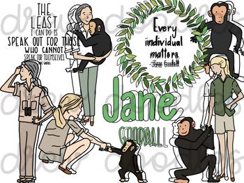 Jane Goodall Digital Clip Art Set- Color and Black Line COMBO