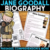 Jane Goodall Reading Passage, Biography Report, & Comprehension Activities