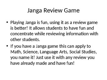 Janga Review Game