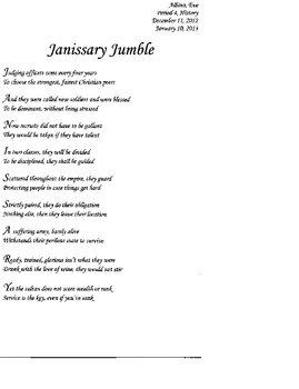 Janissary Jumble; Common Core Approach to the Ottoman Empire