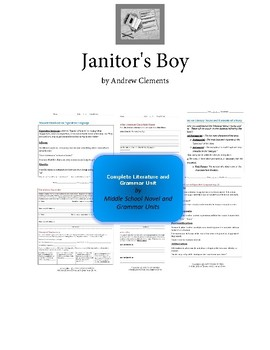 Janitor's Boy - Clements - Complete Literature and Grammar Unit