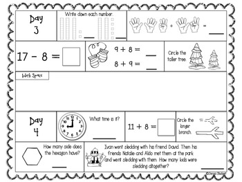 January 1st Grade Daily Math