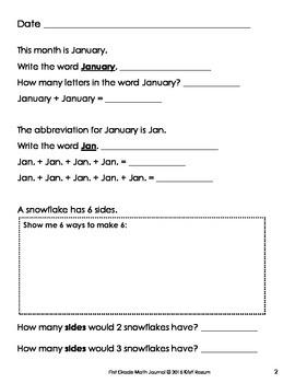 January 1st Math Journal
