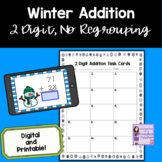 Snowman 2 Digit, No Regrouping Addition Task Cards