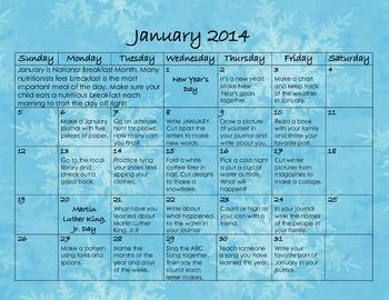 January 2014 Homework Calendar