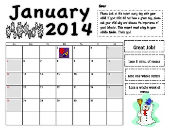January 2014 behavior log
