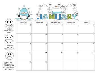 January 2017 Behavior Calendar
