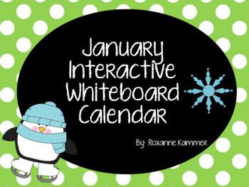 January 2018 Interactive Whiteboard Calendar
