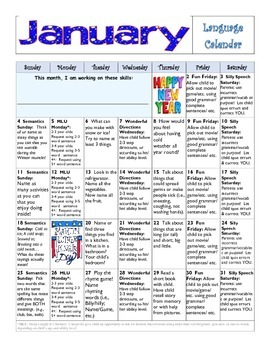 January 2015 Language Calendar