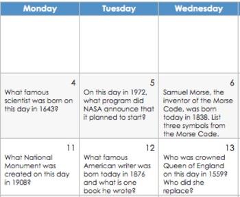 January 2016 Activity Calendars