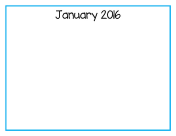 January 2016 Preschool Family Activity Calendar