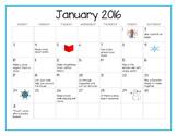 January 2016 Preschool Family Activity Calendar