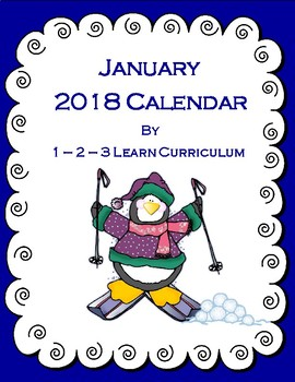 January 2018 Kids Calendar